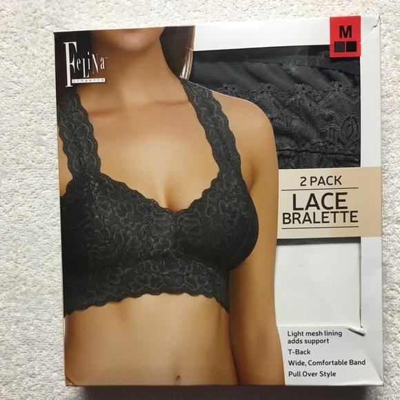 Pack of 2 Felina Women/'s Lace Racerback Bralette